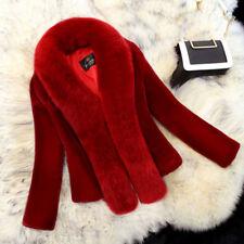 Women's Mink Fur Coat Warm Luxury Short Winter Fox Fur Collar Outwear Jacket sz