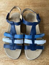 Hotter Womens Sol STD Sandals Platinum Leather UK 5 EU 38 Blue White Brand New