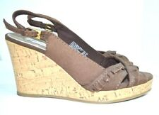 """AMERICAN EAGLE BROWN FABRIC SANDALS SHOES SIZE 6.5 M 3.5"""" HIGH HELLS"""