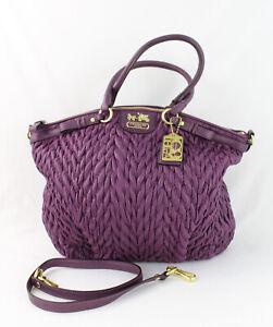 Coach 70th Anniversary Purple Quilted Chevron Madison Handbag Shoulder Bag