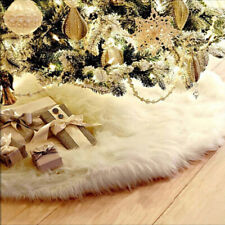 Xmas Christmas Tree Skirt Decor Plush Base Party White Snow Mat Cover Decor BCHV