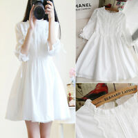 White Sweet  Mori Girl Japanese Dress Lolita Women Lace Up Collar Dress