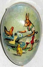 "Vintage Paper Mache Easter Egg (4.5x3"") Breakfast Cook Hare Mint/Sealed Germany"