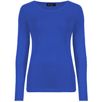 Ladies Fitted Tee Womens Long Sleeve Stretch Plain Round Scoop Neck T Shirt Top