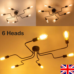 6 Heads E27 Screw Iron Pendant Lamp Nordic Chandelier Ceiling Lights for Office