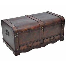 Large Wood Treasure Storage W/ Drawer Blanket Steamer Chest Vintage Coffee  Table