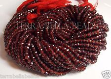 """13"""" strand MOZAMBIQUE GARNET faceted rondelle gem stone beads 3mm - 3.5mm red"""
