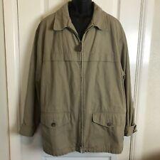 Eddie Bauer Jacket Mens Size Large Beige Full Zip Up Pockets  Outfitter Khaki