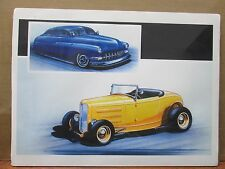 Vintage David Mann Old Vintage Blue and Yellow Cars Poster E30