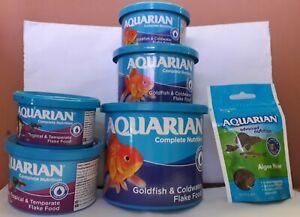 AQUARIAN GOLDFISH FLAKES TROPICAL FLAKES ALGAE WAFERS AQUARIUM FISH FOODS