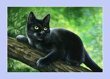 Black Cat impresión Verde Primavera By Irina garmashova