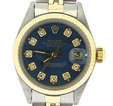 Rolex Datejust Ladies Two-Tone 14K Yellow Gold & Steel Watch Blue Diamond 6917