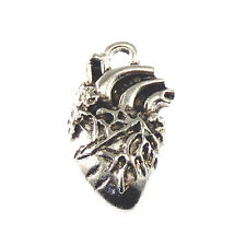 10 Pieces Vintage Silver Plated Heart Shaped Charm Human Organ Necklace Pendant