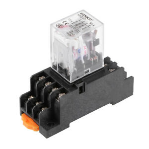 HH54P AC 24V Coil 4P4T 14 Pins Electromagnetic Power Relay Red LED with socket