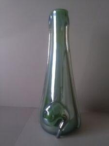 ART NOUVEAU GREEN GLASS VASE