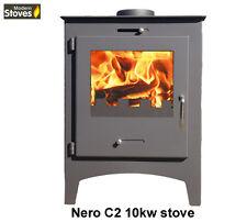 Stove Nero C2 10kw Wood Burning Multi-fuel, Wood Burner Modern Stoves