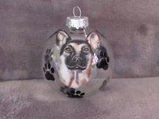 """HAND MADE GERMAN SHEPHERD DOG 3"""" GLASS CHRISTMAS ORNAMENT/BALL"""