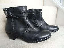 RIEKER BLACK LEATHER ANKLE BOOTS LOW MID HEEL SIZE 3 / 36 EXCELLENT CONDITION