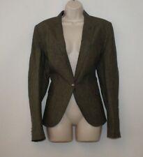 Grey Linen ZARA BASIC Button Fitted Hip Length Casual Jacket Blazer Size 14 / 42