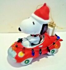 "Vintage Snoopy In car With Holiday Decorations 3.5"" Kurt Adler Ornament"