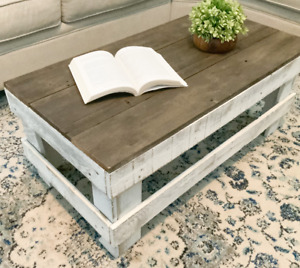 Rustic Coffee Table Barnwood Reclaimed Wood Living Room Distressed Two Tone New