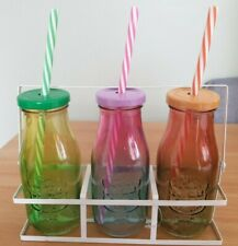 3 x Glass Milk Bottles With Straws - Multicoloured - Kids / Children
