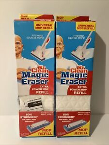 LOT OF (2) Mr. Clean Magic Eraser Extra Power Mop Refill Type A Universal