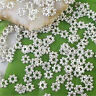 Silver Plated Metal Daisy Flower Loose Beads 4mm Jewelry Findings Making1000Pcs