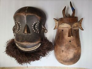Vintage Lot of 2 Polynesian Old Wooden Masks