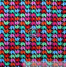 BonEful Fabric Cotton Quilt Rainbow Elephant Stripe Baby Flower Small Sale SCRAP