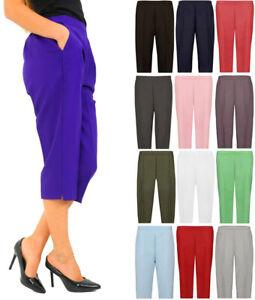 Women Cropped Trousers Elasticated Waist Cotton Capri Shorts Pants with Belt UK