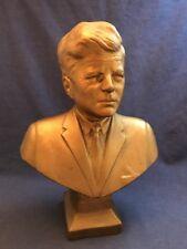 "Vintage 11 1/2"" Gold Painted Plaster Bust President John F. Kennedy JFK Statue"