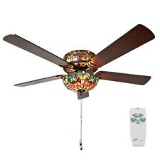 River of Goods Halston 52 in. Indoor Red Stained Glass Ceiling Fan