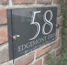 Anthracite Classic House Sign Door Number Street Address Plaque Modern Dec24wa