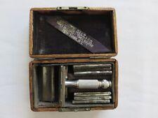 Antique Gillette Safety Razor & 7 Days of the Week Blades w/Original Wood Case