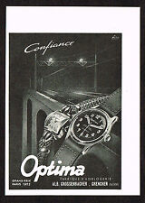 1940s Vintage 1945 Optima Swiss Watch Print Ad