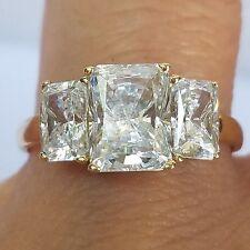 3.5 c 14k yellow Gold 3 stone Emerald Cut man made diamond Engagement Ring s 7