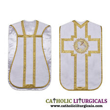 Roman Chasuble White Fiddleback Agnus Dei Vestment and 5pcs mass set,Casulla