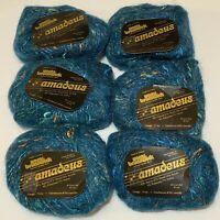 Lot of 6 Skeins Vintage Yarns Brunswick Amadeus Yarn Rayon Wool Blue Spruce 7702