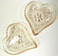 Vintage Pink Heart Indiana Glass Trinket Dish Pressed Glass Candy Nut Set of 2