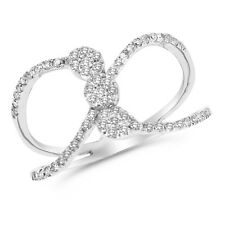 14K White Gold Pave Round Diamond Cocktail Cluster Right Hand Ring