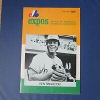MONTREAL EXPOS 1972 program vol 4 no 4 Ken Singleton cover vs Pirates RARE