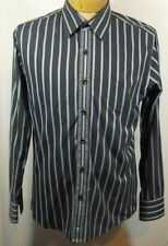 7 Diamonds Mens Black & Gray Striped embroidered Long Sleeve Button Front sz L