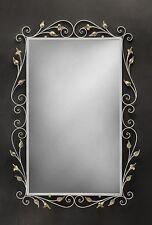 Specchio in ferro battuto bianco e oro dipinto a mano coll. BELL SP/310