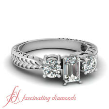 Engagement Rings For Women 1.5 Ctw Emerald Cut FLAWLESS 3 Stone Diamond GIA