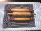"""Lot of 3 Vintage Red Handled Wooden Rolling Pins 17.5"""" & 15.5"""""""
