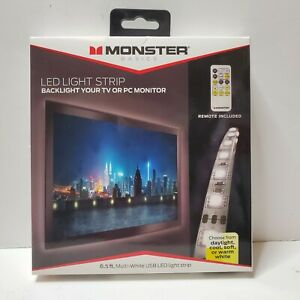 Monster Multi-White USB LED Light Strip with Remote - 6.5ft/2m