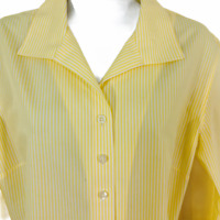 Chicos 2 No Iron Yellow Stripe Button Front Shirt Top 3/4 Sleeve Women Sz L