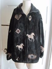 Womens Adventure Pass Berber Deep Pile Sherpa Fleece Horses Equestrian Jacket L