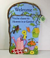 Garden 3D Wall Plaque Resin Stone Sculpture Sign Cottage Spring Gardening Decor